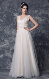 A-Line Beaded Belt V-Neckline Sleeveless Tulle Gown