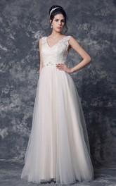 A-Line Beaded Belt V-Neckline Sleeveless Tulle Gown