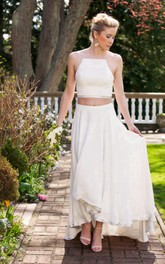 Chiffon Crop Top High-Low Two-Piece Bridal Dress