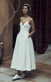 Simple Chiffon Spaghetti Ankle-Length Wedding Dress with Pocket