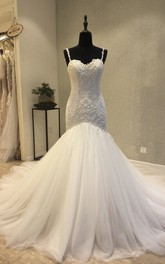 Appliqued Backless Sweetheart Mermaid Wedding Dress With Straps And Lace