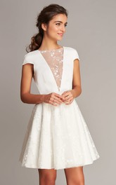 Casual Short Sleeve A Line Satin Lace Jewel Neck Short Wedding Dress with V Back