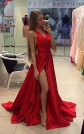 V-Neckline Sleeveless Front-Slit Formal Red Sassy Long Dress