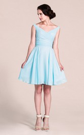 Short-Midi Pleated V-Neckline Sleeveless Bridesmaid Dress