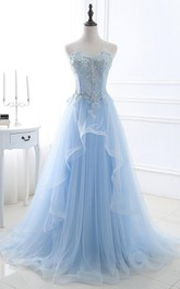 Strapless Sweetheart Lace Tulle Sleeveless Sweep Train Corset Back A Line Prom Dress