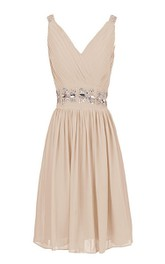 Short Sequined Waist V-Neckline Sleeveless Dress