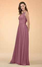 Casual A Line Chiffon One-shoulder Floor-length Bridesmaid Dress With Ruching