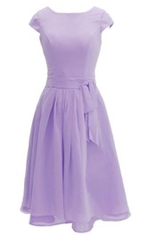 Chiffon Sash Midi-Length Cap-Sleeved Dress