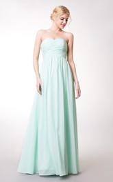 High-Waist Chiffon Sleeveless Sweetheart A-Line Bridesmaid Dress