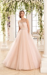 Scoop-Neck Criss Cross Tulle Rhinestone Ball-Gown Princess Keyhole Dress