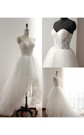 Sweetheart High-low Tulle A-line Wedding Dress With Lace And Sweep Train