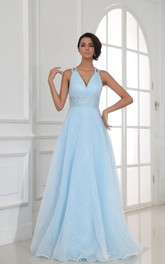 V-Neckline Sequined Waist Long Halter A-Line Gown