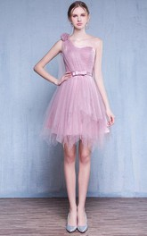 One-shoulder Tulle Sleeveless short A-line Dress With Pleats And Flower