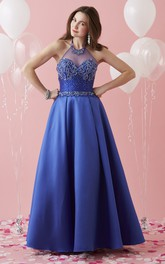 High Neck Sleeveless A-line Satin Prom Dress With Crystal Detailing