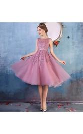 A-Line Scoop Tulle Adorable Petite Short Mini Sleeveless Zipper Back Appliques Bridesmaid Dress