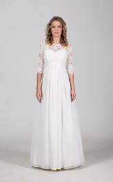 Wedding Illusion Corset Back Lace Chiffon Dress