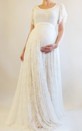 Beach Scoop Short Sleeve Bandage Pleated Maternity Wedding Dress