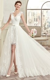 Cap-sleeve Tulle Lace Wedding Dress With Low-V Back