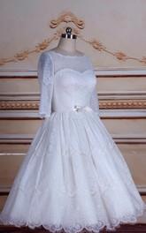 Tulle Button Tea-Length A-Line Satin Gown