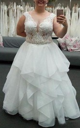 Jewel Organza Lace Cap Short Sleeve Wedding Gown