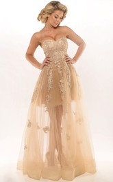 Sweetheart A-line Tulle evening Dress With Appliques
