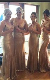 Stunnning V-Neck Sequins Gold Bridesmaid Dresses Plus Size Long Floor Length