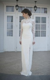 Illusion-Sleeve Slit Side High-Neckline Gorgeous Bridal Gown