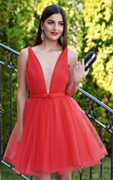 Plunging Neckline Straps Tulle Sleeveless Short A Line Homecoming Dress