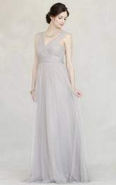 Tulle Strapped Floor-length Bridesmaid Dress With Ruching