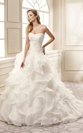 A-Line Appliqued Strapless Long Organza Wedding Dress With Cascading Ruffles And Court Train