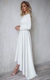 A Line Bateau Satin High-Low Long Sleeve Open Back Wedding Dress