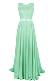 Appliqued-Top Band Lace Scalloped A-Line Gown