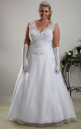 Plunged Sleeveless Lace plus size wedding dress With Ruching And Appliques