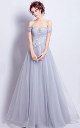 Off-the-shoulder Lace Tulle Sleeveless Floor-length Lace-up Back Formal Dress