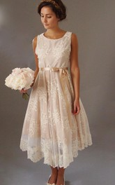 Pleated Tea-Length Sleeveless Vintage-Inspire Lace Blush Gown
