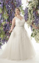 Plunged Sleeveless A-line Tulle Ball Gown With Appliques And Jeweled Waist