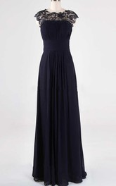 Scoop-neck Cap-sleeve A-line Chiffon long Dress With Appliques And Keyhole