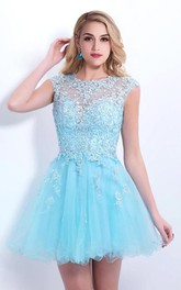 Tulle Lace Appliqued Sleeveless Elegant Dress