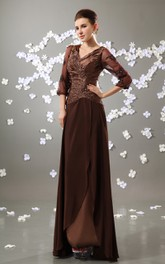 Chiffon Ruched Top Long-Sleeve V-Neckline Floor-Length Gown