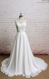 Chiffon Sheer Back Bateau-Neckline Simple Gown