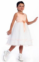 Tulle Floral Tea-Length Satin Flower Girl Dress