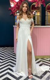 Off-the-shoulder Sweetheart Chiffon Chapel Train Sheath Wedding Dress with Split Front