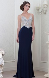 Sheath Sleeveless Floor-length Jersey Beaded With Low-V Back