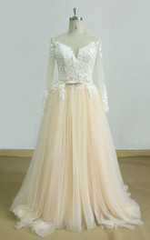 Tulle Satin Long-Sleeve A-Line Wedding Lace Gown