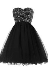 Strapless A-line Short Dress With Sequined Bodice