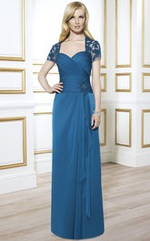 Criss-Cross Draping Formal Appliques Short-Sleeve Column Chiffon Gown
