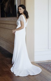 Elegant Sheath Plunging V-neck Wedding Dress With Illusion Beaded Sleeves And Court Train