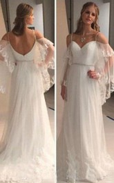 Spaghetti Lace Tulle Poet Long Sleeve Wedding Gown