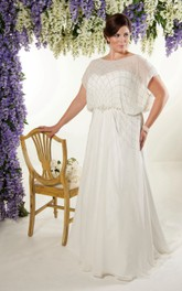 casual caped Sheath plus size wedding dress With Beading And Low-V Back