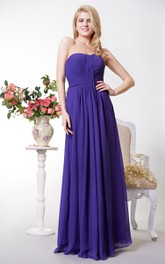 A-Line Pleated Floor-Length Chiffon Open-Back Long Dress